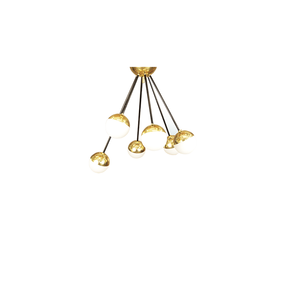 6 Brass arms Chandeliers
