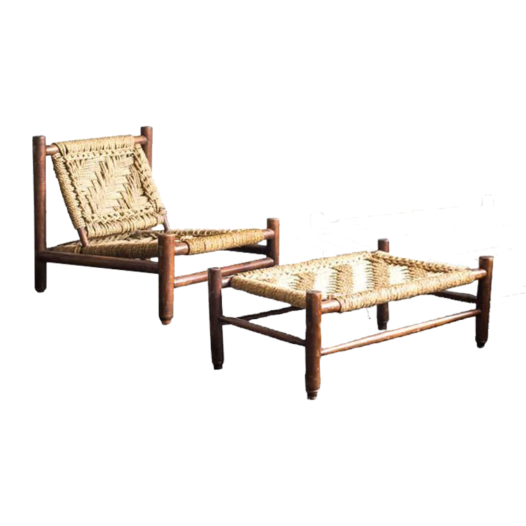 Set of Armchair and Table by Audoux-Minet