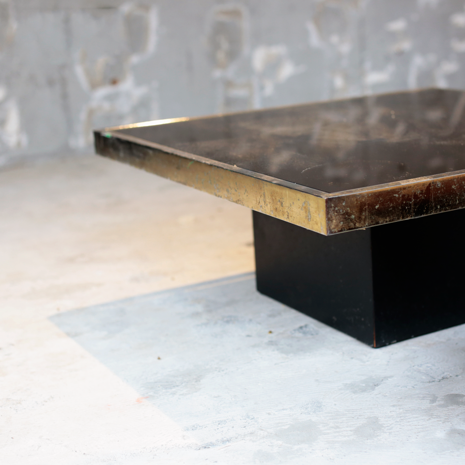 Willy Rizzo Coffee Table with brass flam