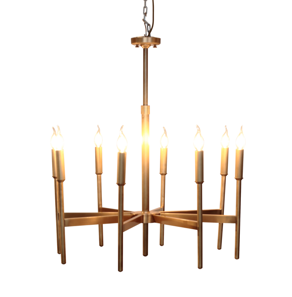 Eight Arm Brass Chandelier