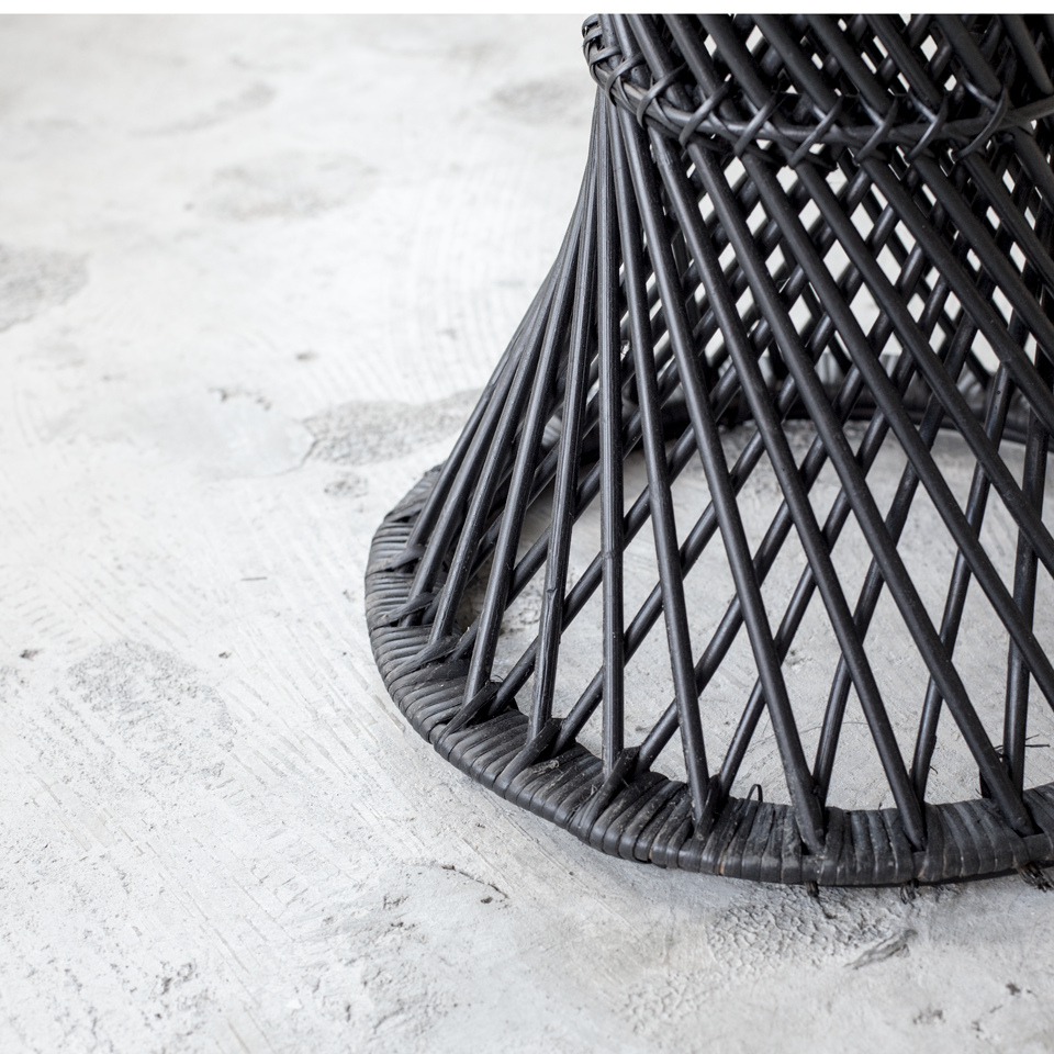 Twisted Black Rattan Stool