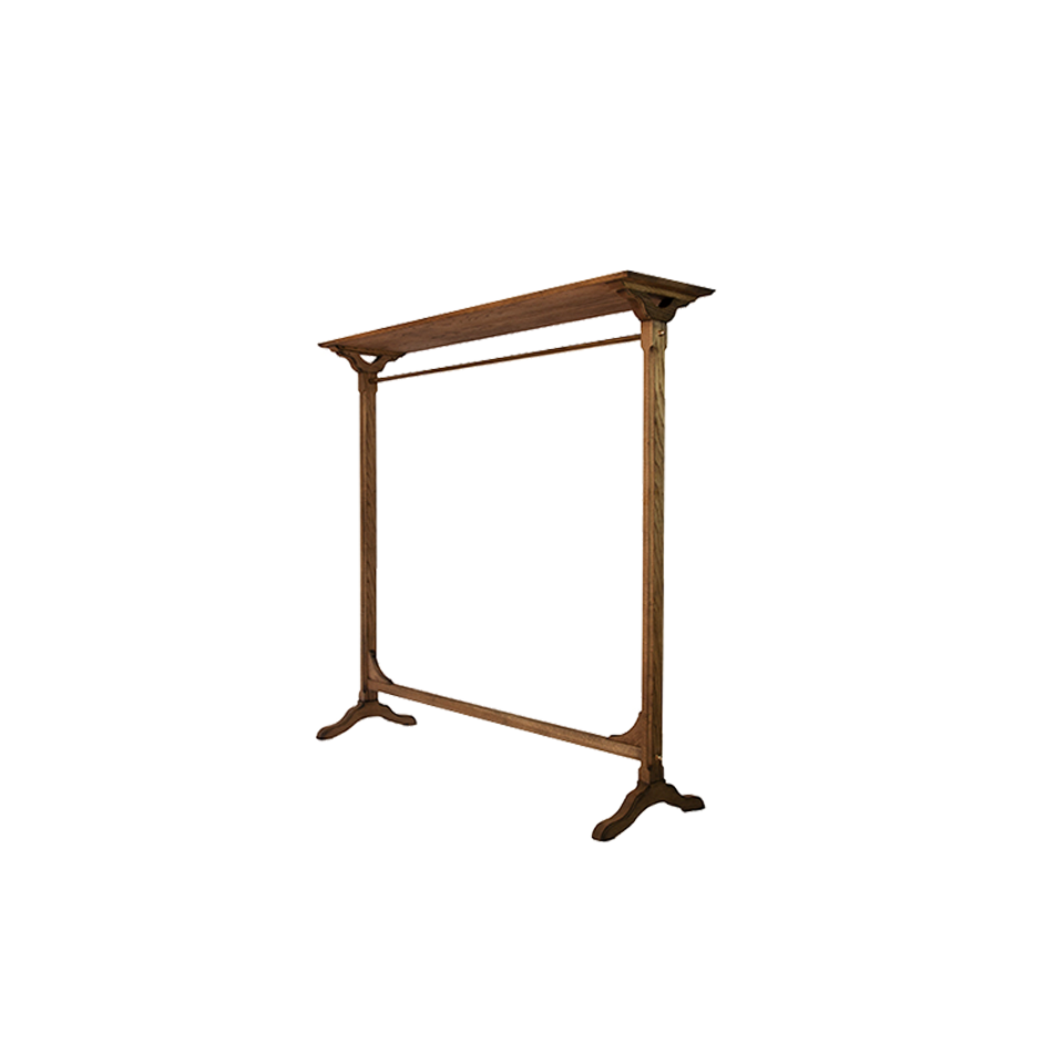 Wood hanger rack with brass parts