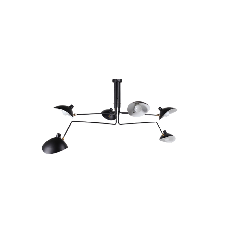 Serge Mouille Style 6-arms Rotating lamp