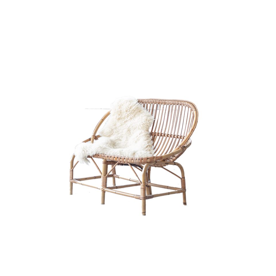 Bamboo and Rattan Wicker Bench