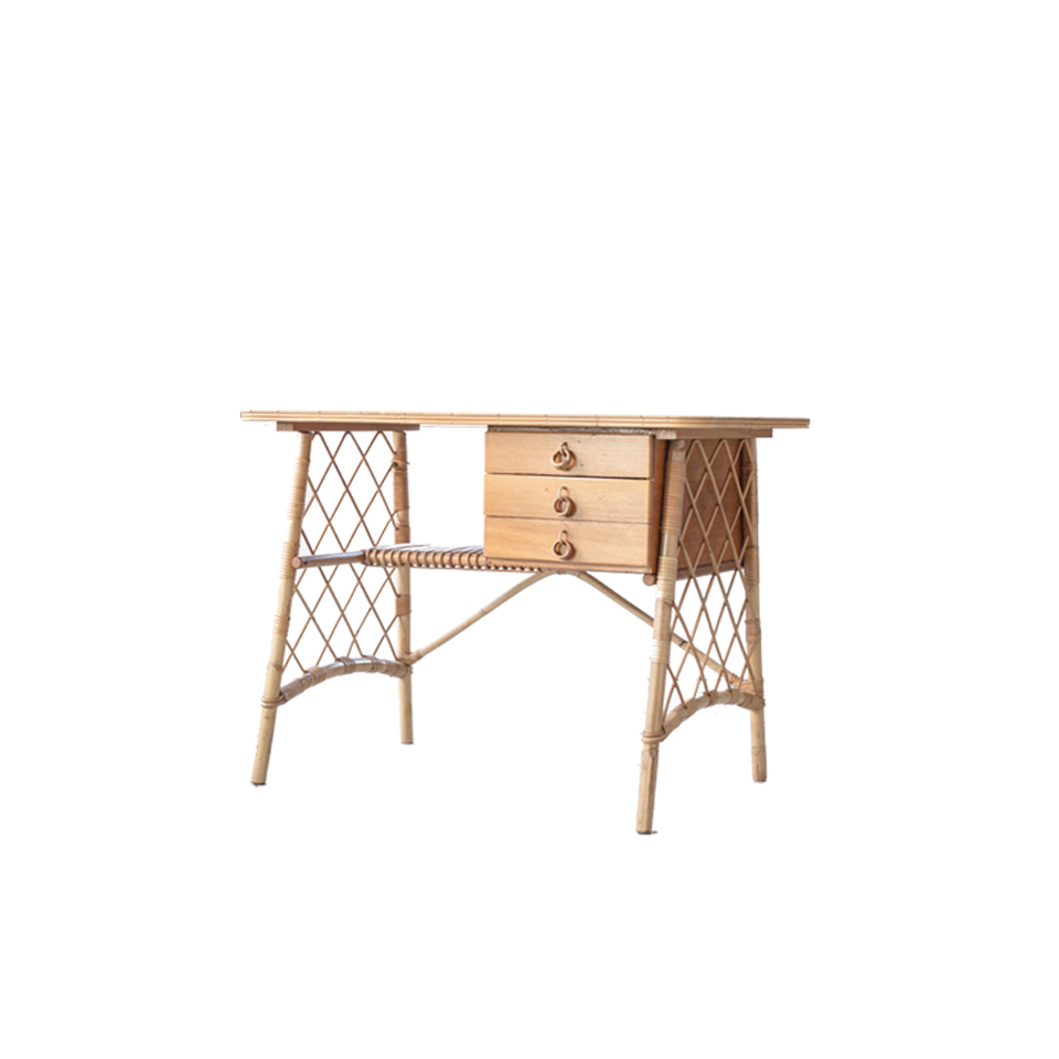 Louis Sognot Rattan and Wood Desk