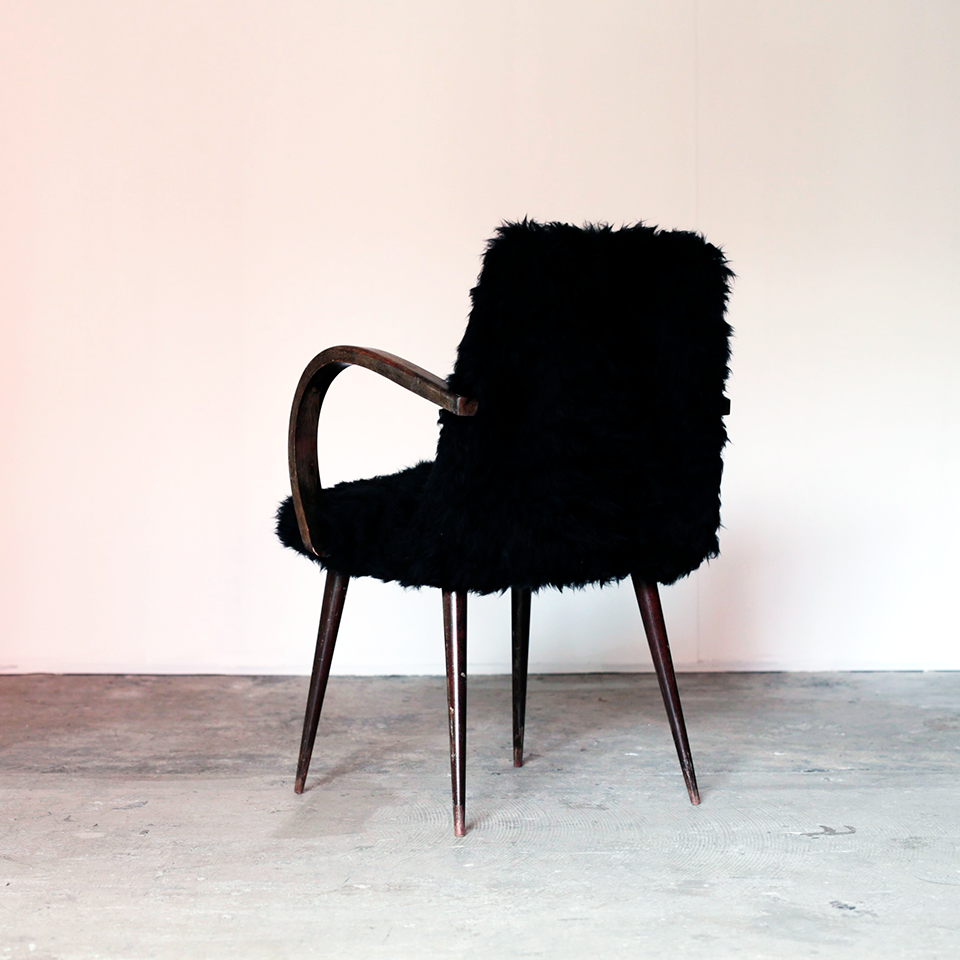 Italian Vintage Black Fur Chairs