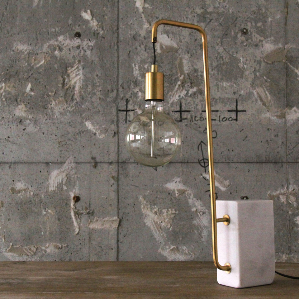 Brass Arm Desk Lamp with Stone Base