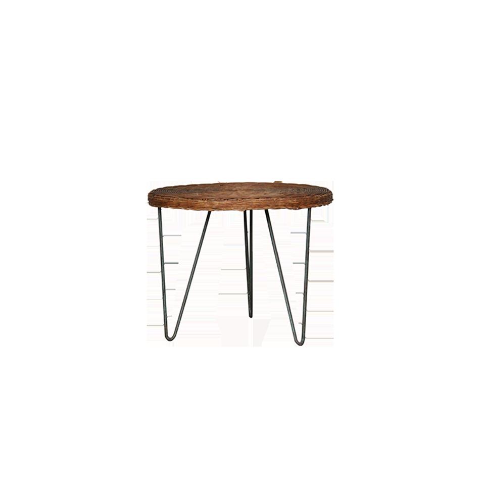 Vintage Iron Flame Rattan Side Table