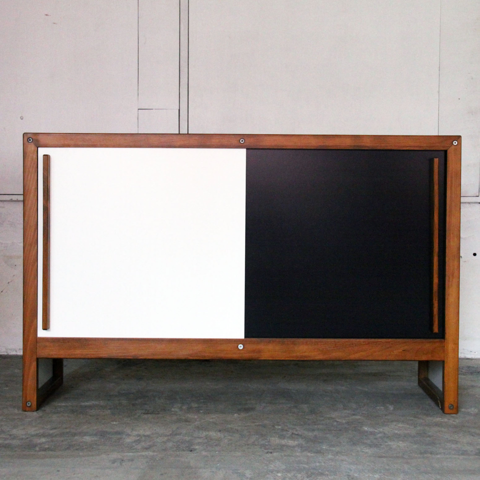 ANDRE SORNAY CABINET WITH ANTHRACITE AND WHITE LACQUER 1960