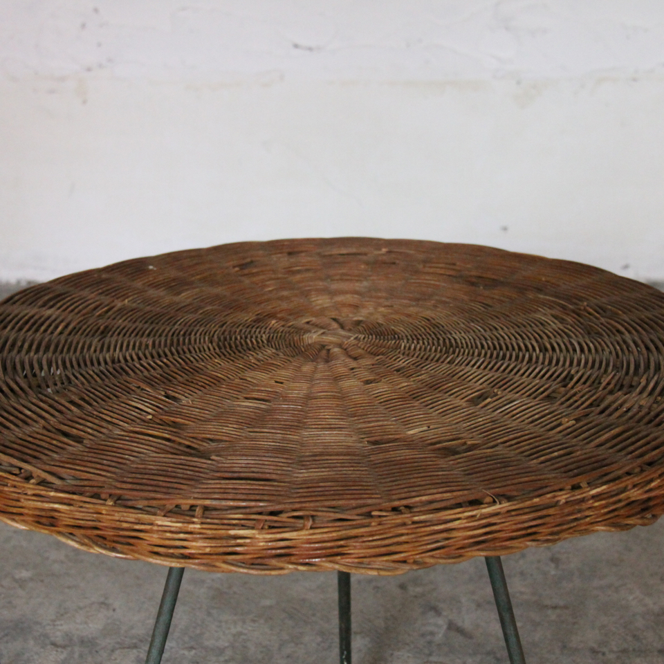 Vintage Iron Flame Rattan Side Table