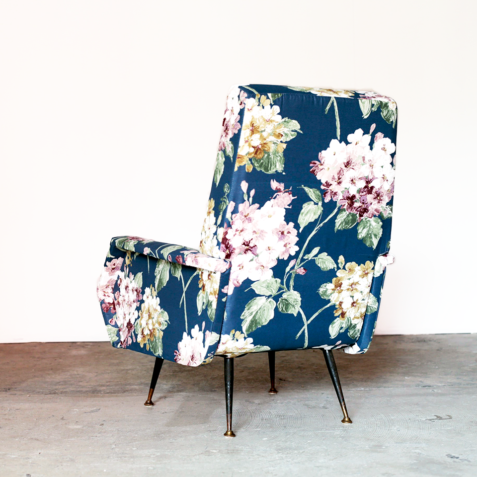 Armchair Upholstered in Flower Fabric from Italy 1950