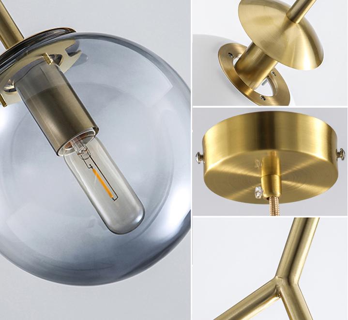 Modern 2 Glass balls Brass Lamp