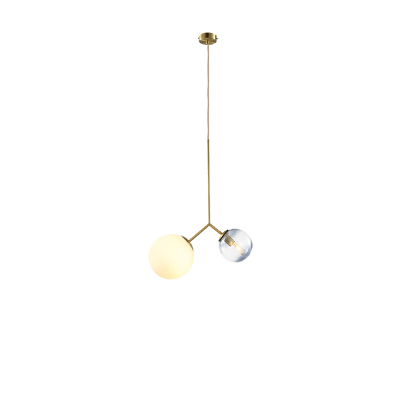 Modern 2 Glass balls Brass Lamp