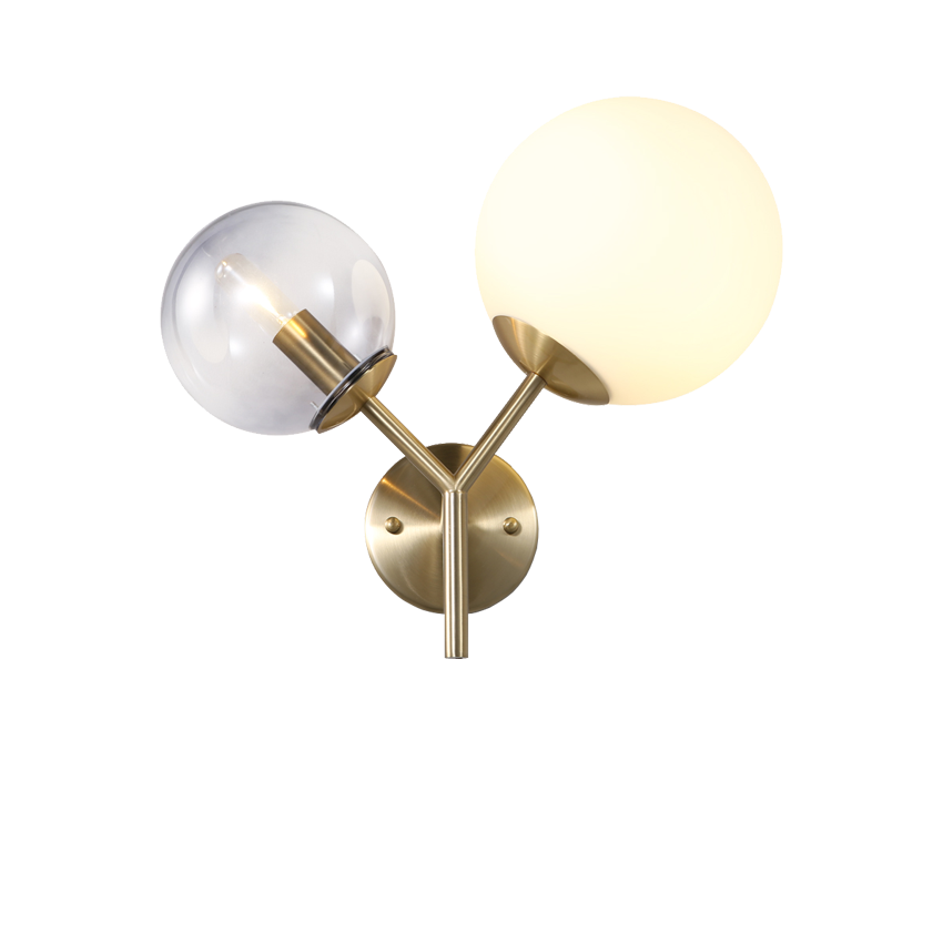 Modern 2 Glass balls Brass Wall Lamp