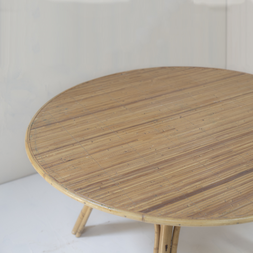 Rattan Round Table Audoux-Minet Styled