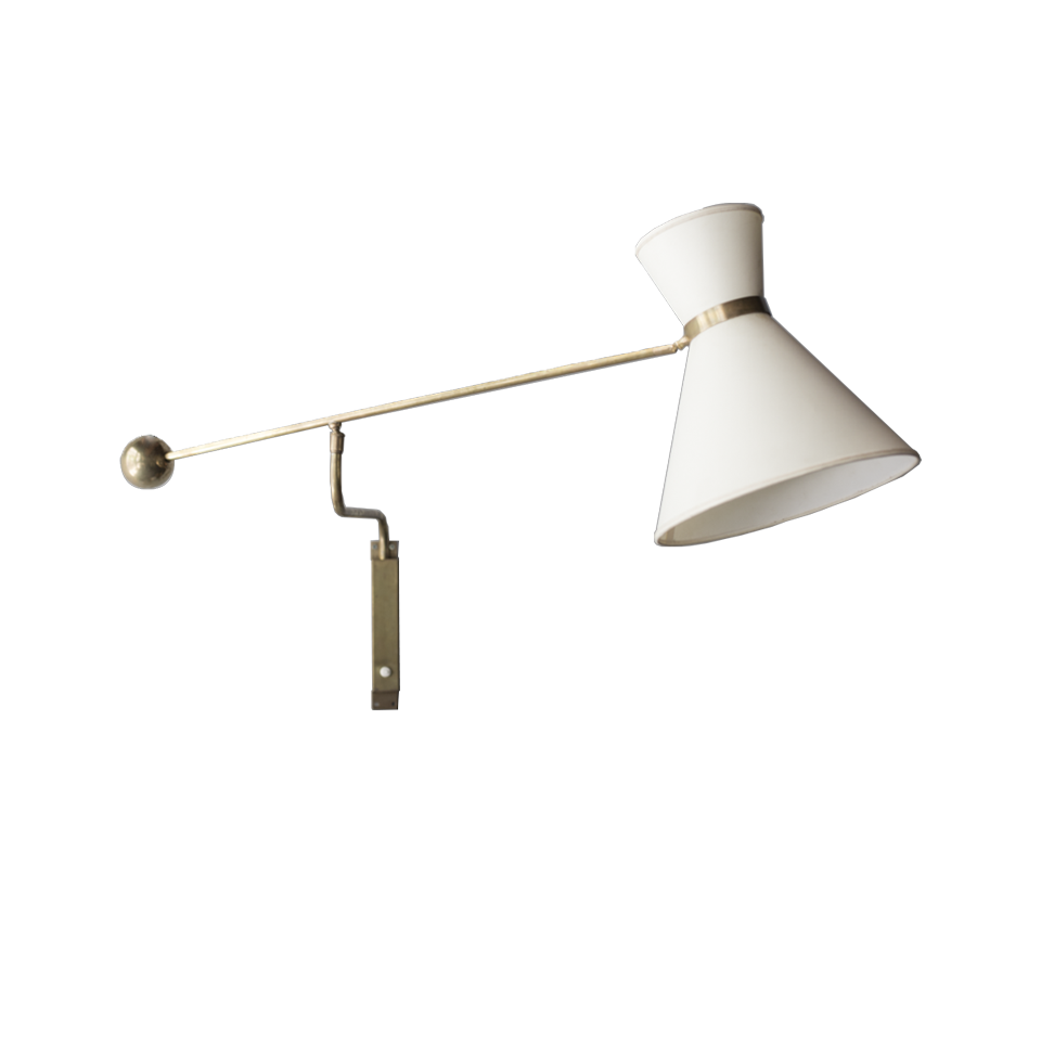Brass Arm Bracket Light with Fabric Shade