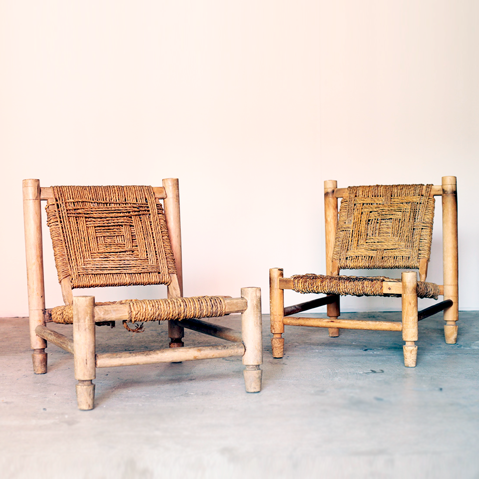 Wood & Rope Low Chair by Audoux-Minet