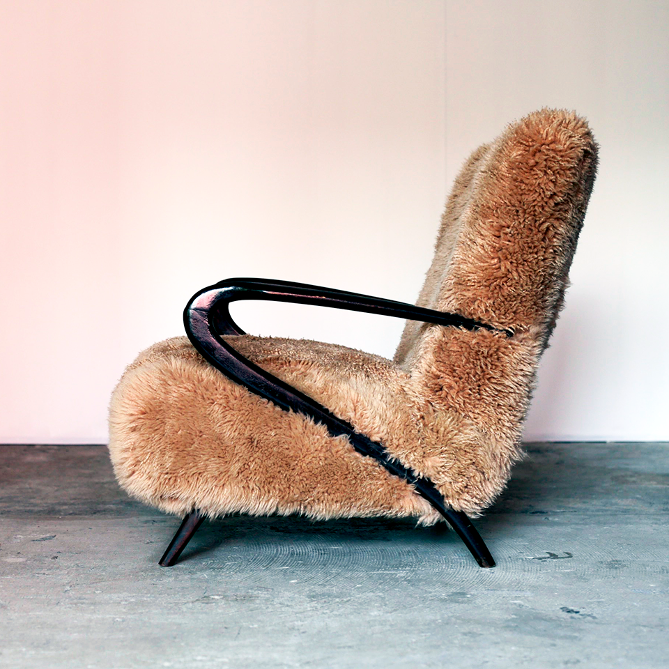Italian Modern Sculptural Lounge Fur Chair