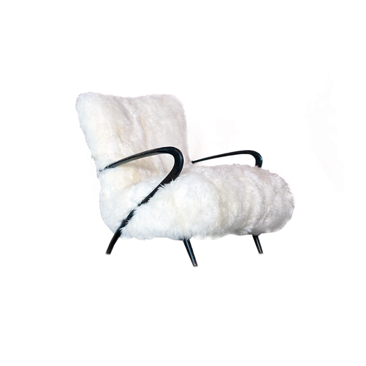 Italian Modern Sculptural Lounge White Fur Chair