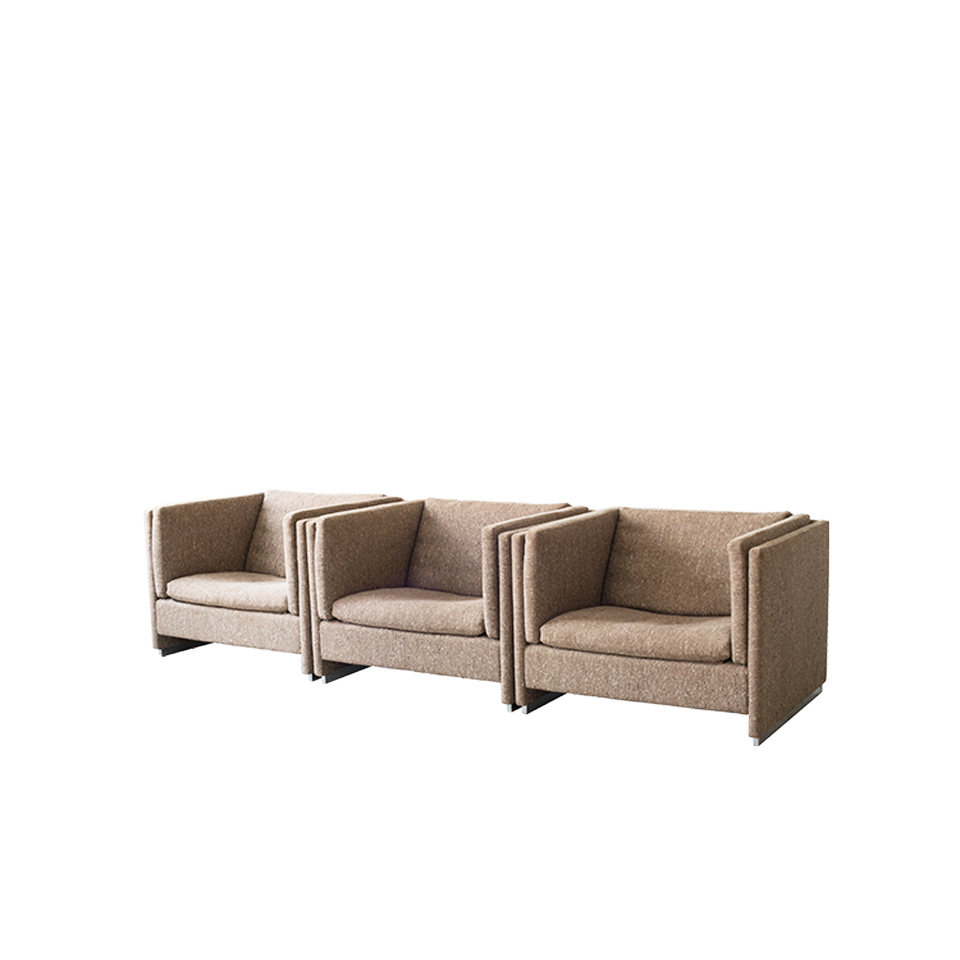 bo-ex Chrome Base Sofa with Brown Fabric