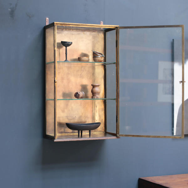 Vintage Vertical Showcase with brass frame