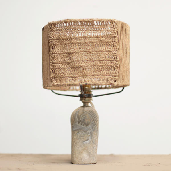 Carved Stone Table Lamp