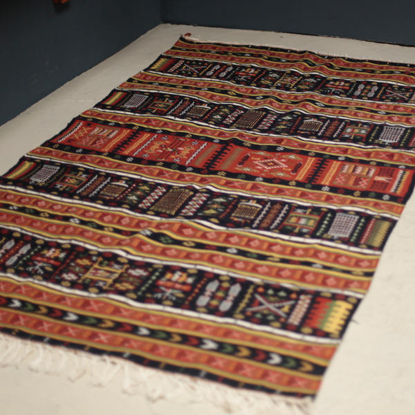 Vintage North African Rug with red and black color