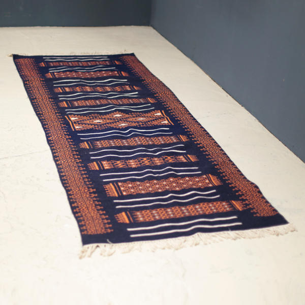 Vintage North African Rug  with orange and amber color
