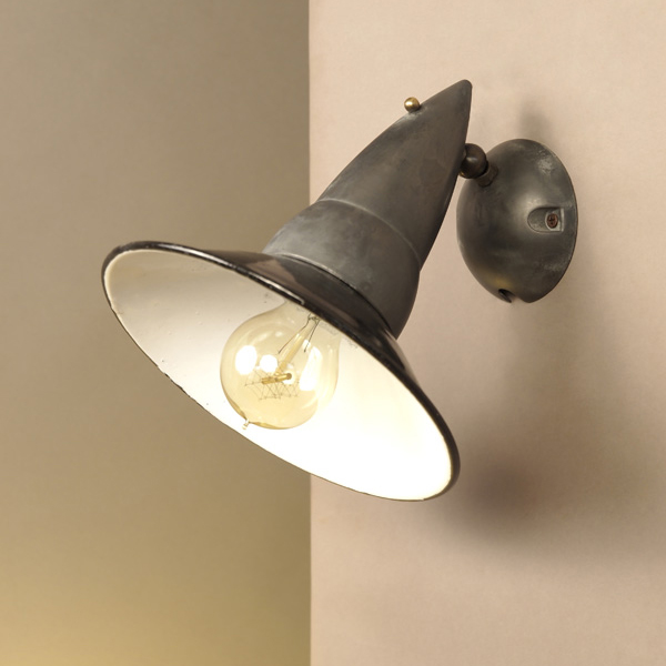 Industrial style aluminum wall lamp with enamel iron shade objet d mozeypictures Gallery