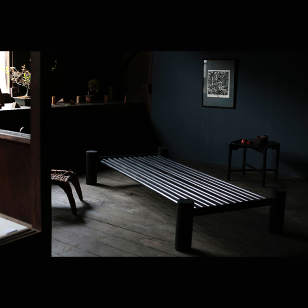 Vintage Black Wood Day Bed from France