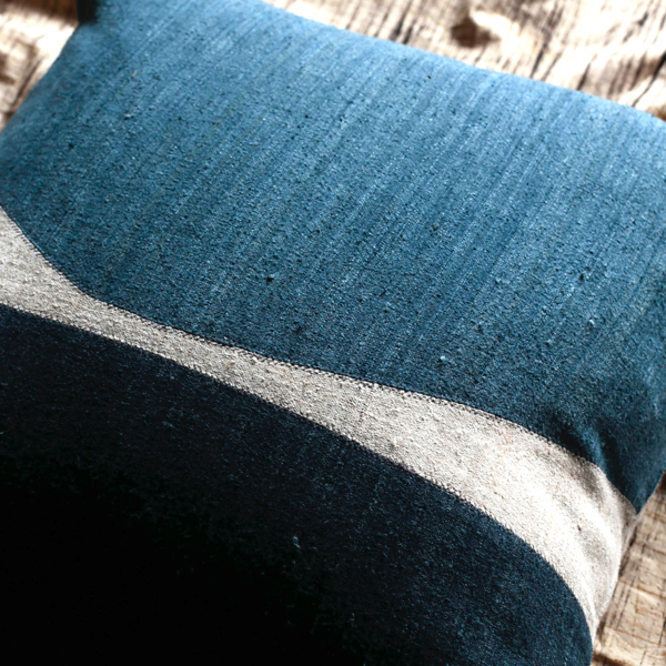 Indigo Raw Silk Pillow (Square) by x+l