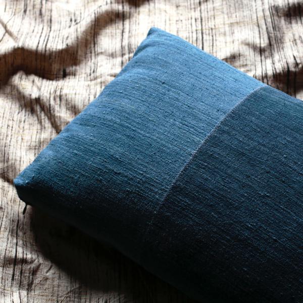 Indigo Raw Silk Pillow (Rectangle) by x+l