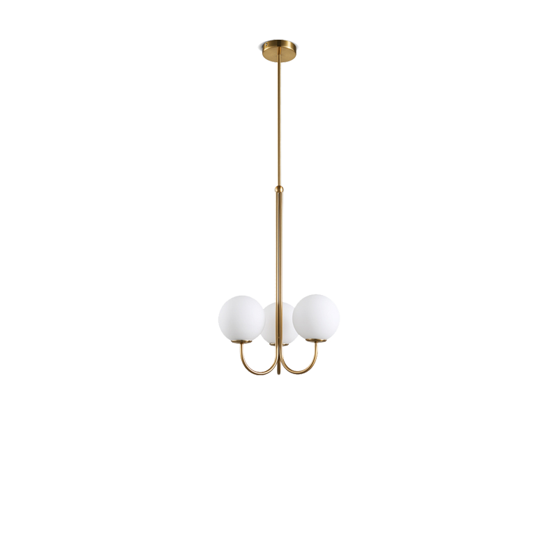 Brass 3 Balls Chandelier