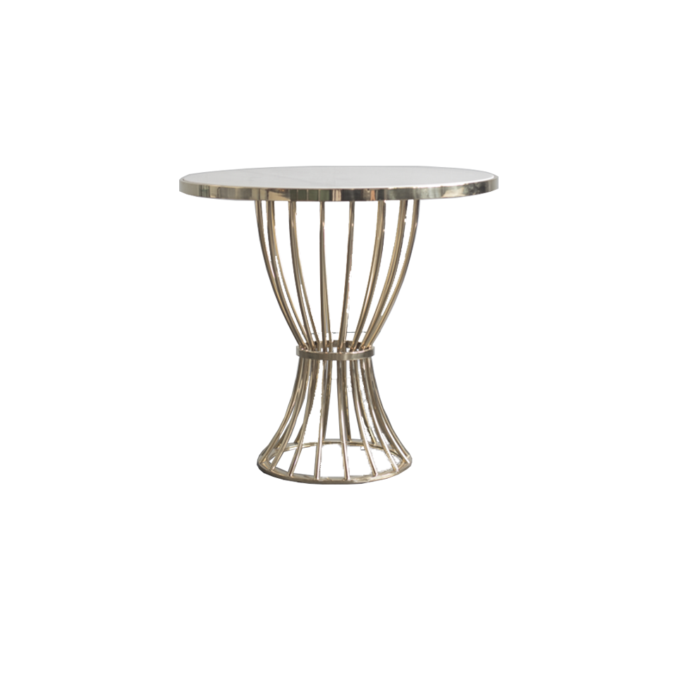 Brass Flame Table with Marble Top