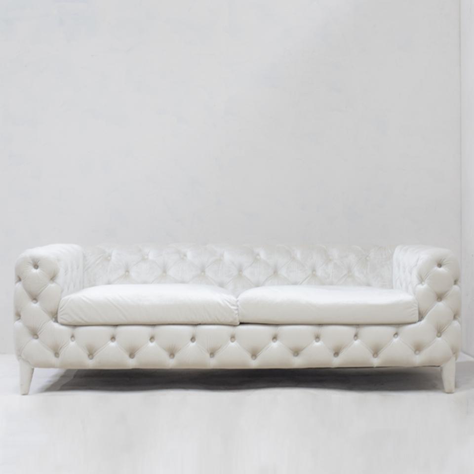 Pearl White 3 Seater Sofa