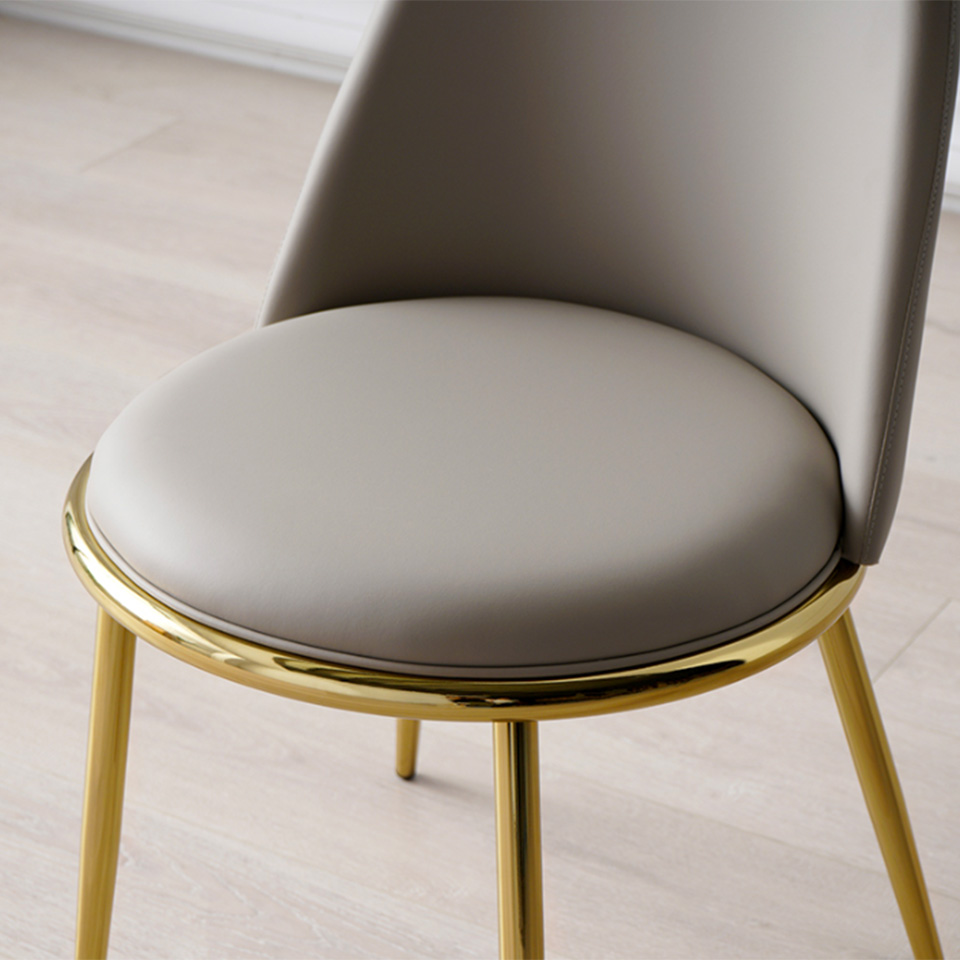 Brass Leg Chair with Gray Fabric