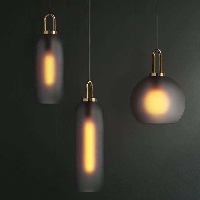 U Brass Received Glass Lamp